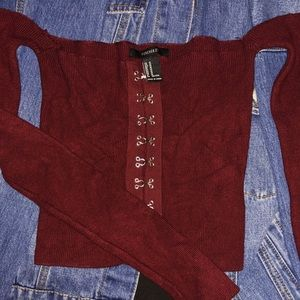Off the shoulder Raw Cut Oxblood Crop Sweater